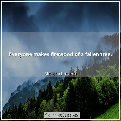 Everyone makes firewood of a fallen tree. - Mexican Proverbs