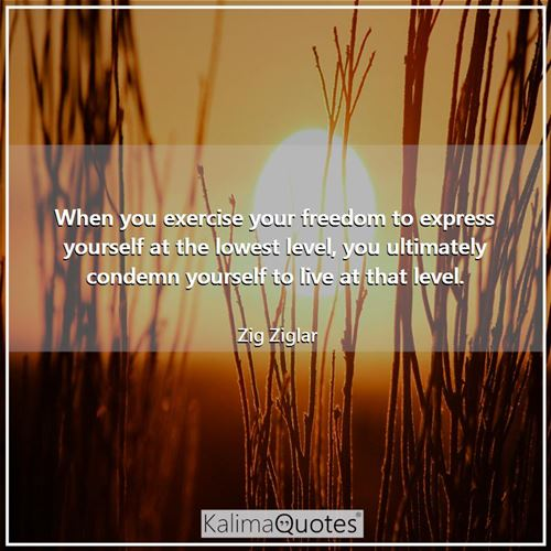 When you exercise your freedom to express yourself at the lowest level, you ultimately condemn yourself to live at that level.