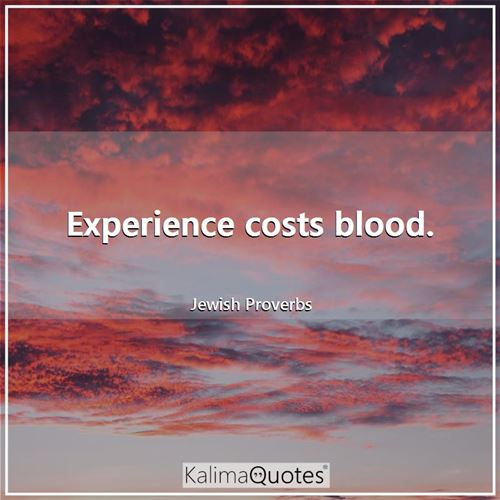 Experience costs blood.