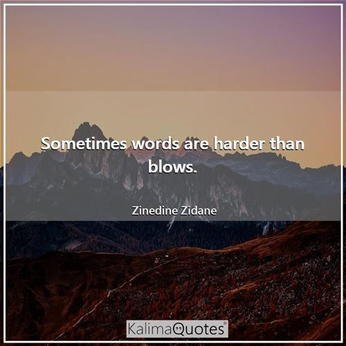 Sometimes words are harder than blows.