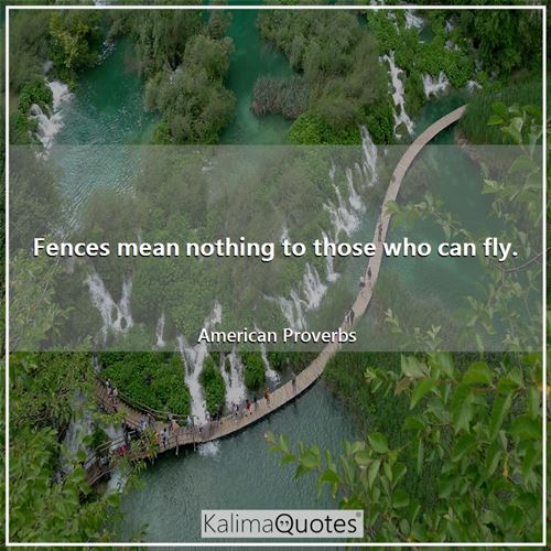 Fences mean nothing to those who can fly.
