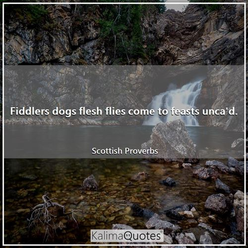 Fiddlers dogs flesh flies come to feasts unca'd. - Scottish Proverbs