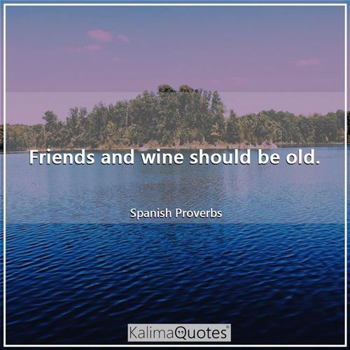 Friends and wine should be old.