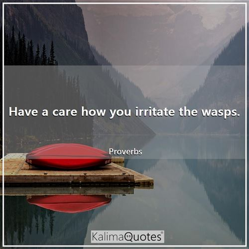 Have a care how you irritate the wasps.