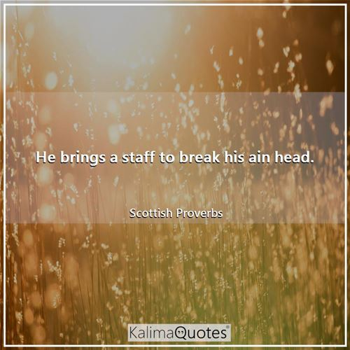 He brings a staff to break his ain head. - Scottish Proverbs