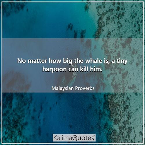 No matter how big the whale is, a tiny harpoon can kill him.
