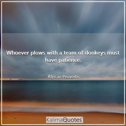Whoever plows with a team of donkeys must have patience.