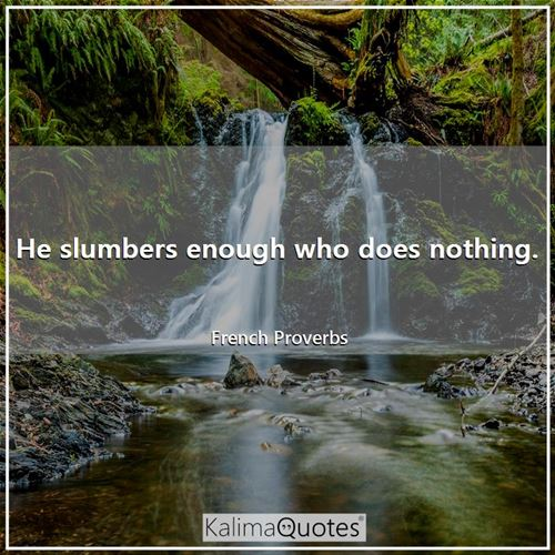 He slumbers enough who does nothing. - French Proverbs