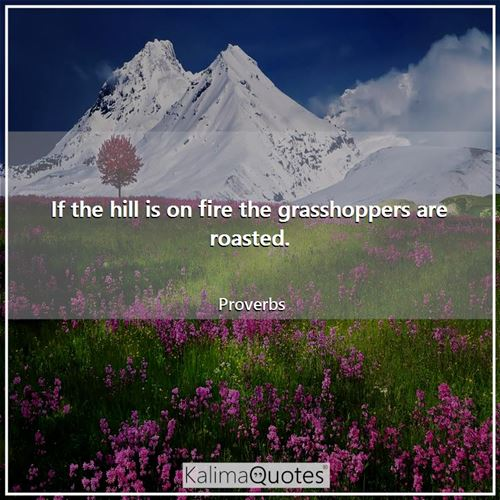 If the hill is on fire the grasshoppers are roasted.