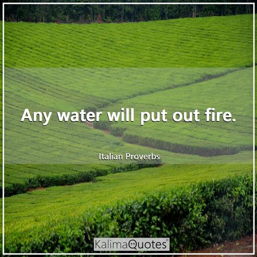 Any water will put out fire.