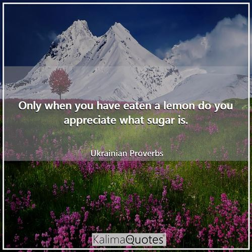 Only when you have eaten a lemon do you appreciate what sugar is.