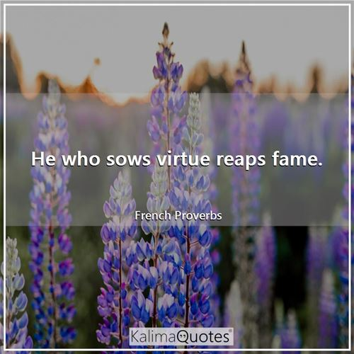 He who sows virtue reaps fame.