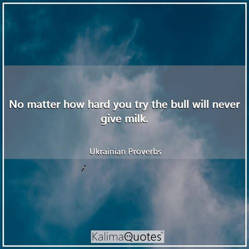No matter how hard you try the bull will never give milk.
