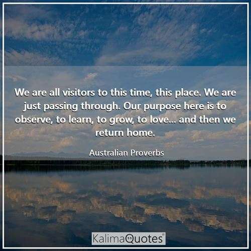 We are all visitors to this time, this place. We are just passing through. Our purpose here is to observe, to learn, to grow, to love... and then we return home.