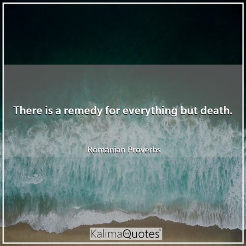 There is a remedy for everything but death.