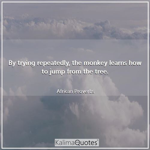 By trying repeatedly, the monkey learns how to jump from the tree.