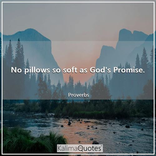 No pillows so soft as God's Promise. - Proverbs