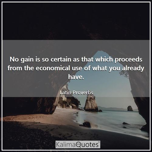 No gain is so certain as that which proceeds from the economical use of what you already have.