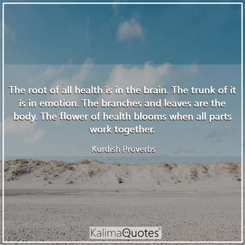 The root of all health is in the brain. The trunk of it is in emotion. The branches and leaves are the body. The flower of health blooms when all parts work together.