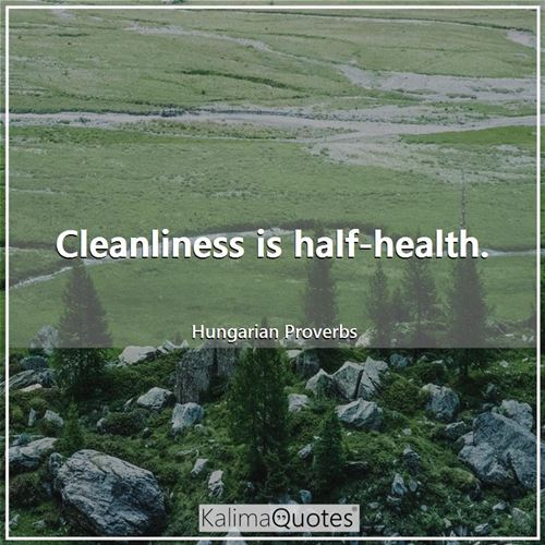 Cleanliness is half-health.
