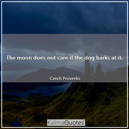 The moon does not care if the dog barks at it.