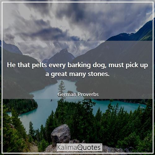 He that pelts every barking dog, must pick up a great many stones.