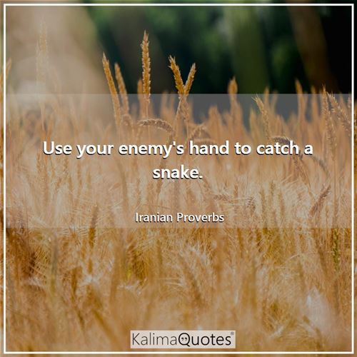 Use your enemy's hand to catch a snake.