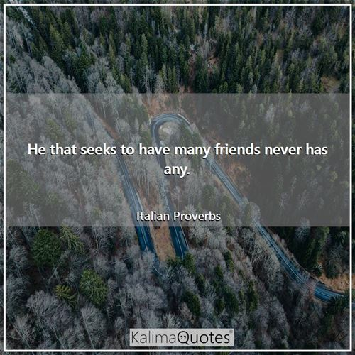 He that seeks to have many friends never has any. - Italian Proverbs