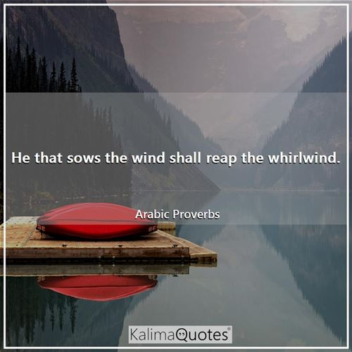 He that sows the wind shall reap the whirlwind.