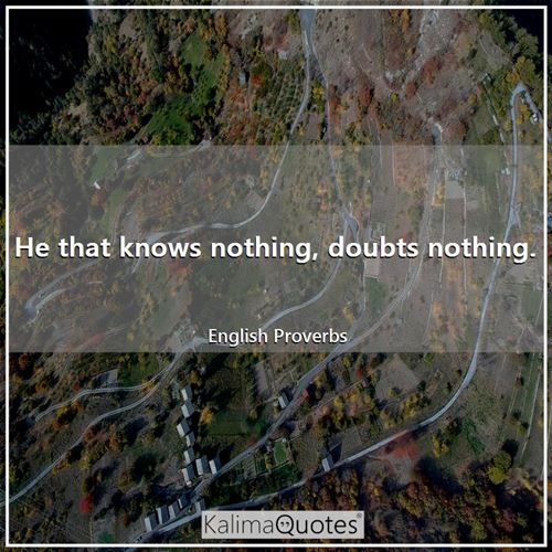 He that knows nothing, doubts nothing.