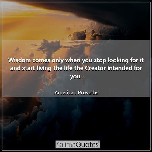 Wisdom comes only when you stop looking for it and start living the life the Creator intended for you.