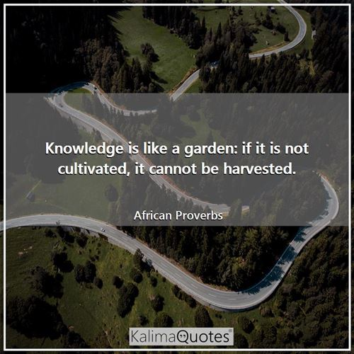 Knowledge is like a garden: if it is not cultivated, it cannot be harvested.