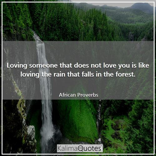 Loving someone that does not love you is like loving the rain that falls in the forest.