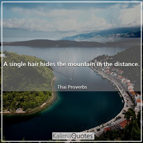 A single hair hides the mountain in the distance.