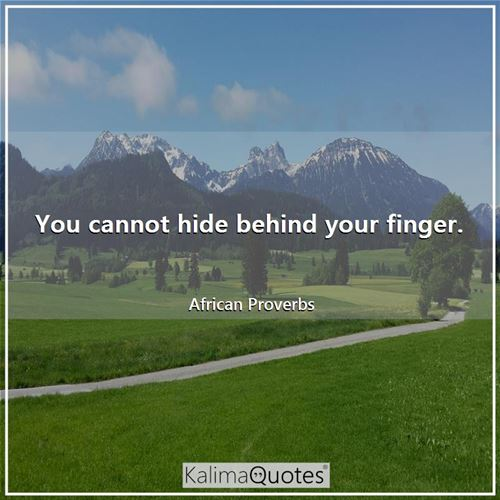 You cannot hide behind your finger.