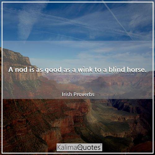 A nod is as good as a wink to a blind horse.
