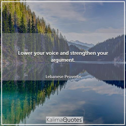Lower your voice and strengthen your argument.
