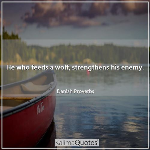 He who feeds a wolf, strengthens his enemy.