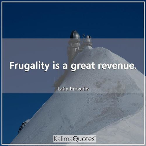 Frugality is a great revenue.