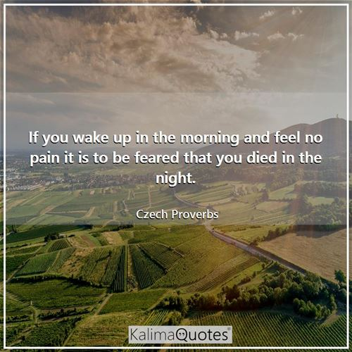 If you wake up in the morning and feel no pain it is to be feared that you died in the night.