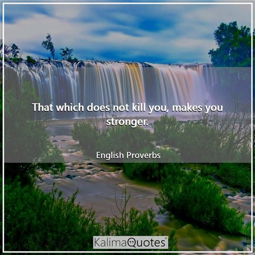 That which does not kill you, makes you stronger.