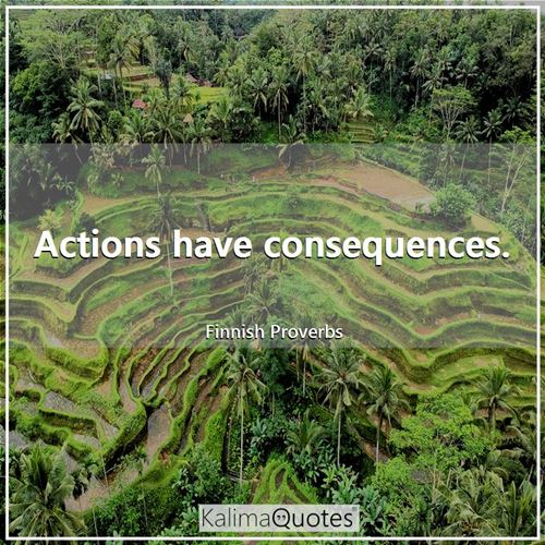 Actions have consequences. - Finnish Proverbs