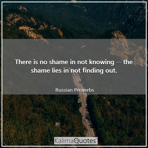 There is no shame in not knowing -- the shame lies in not finding out.