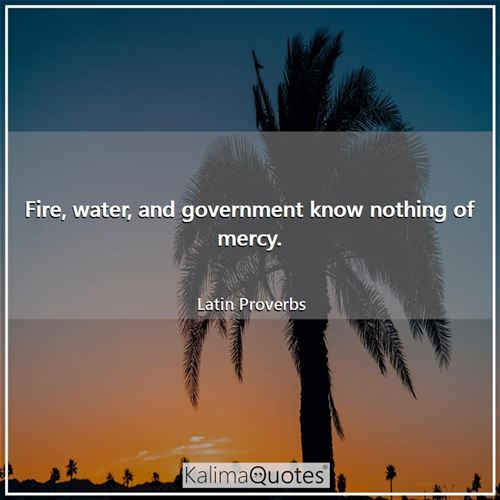 Fire, water, and government know nothing of mercy.