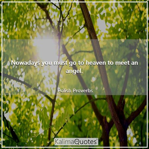 Nowadays you must go to heaven to meet an angel. - Polish Proverbs