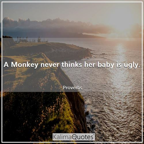 A Monkey never thinks her baby is ugly.