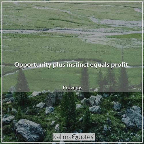 Opportunity plus instinct equals profit.