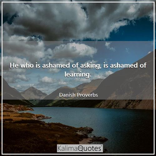 He who is ashamed of asking, is ashamed of learning. - Danish Proverbs