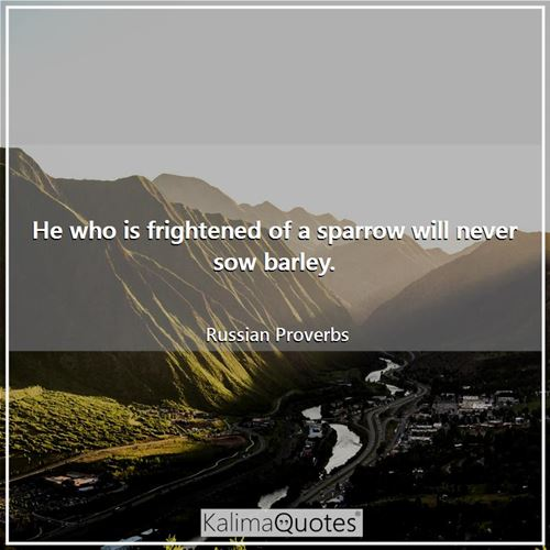 He who is frightened of a sparrow will never sow barley. - Russian Proverbs