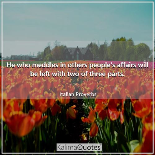 He who meddles in others people's affairs will be left with two of three parts.